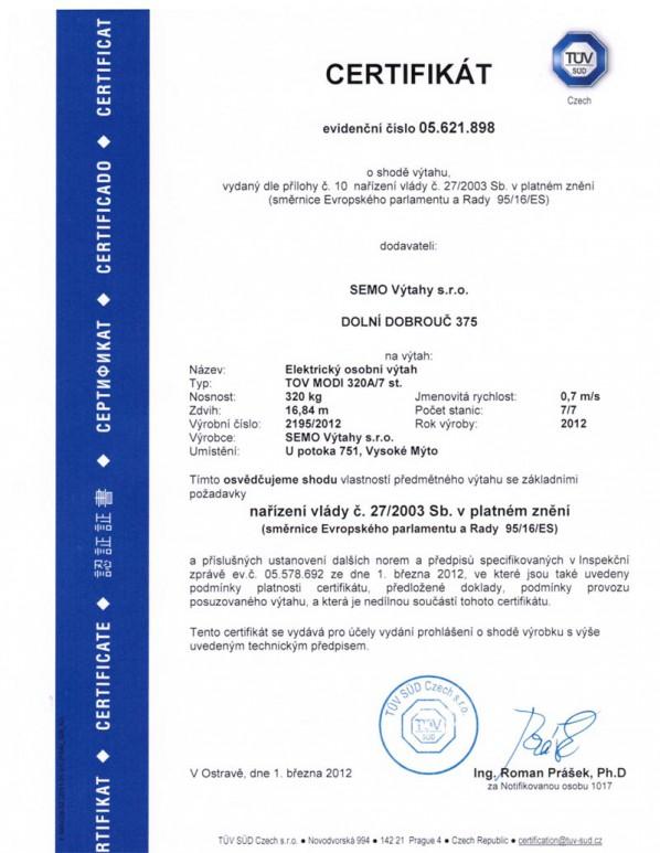 Certifikát TOV MODI 320