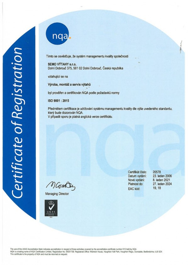 Certifikát ISO 9001 : 2015 CZ verze