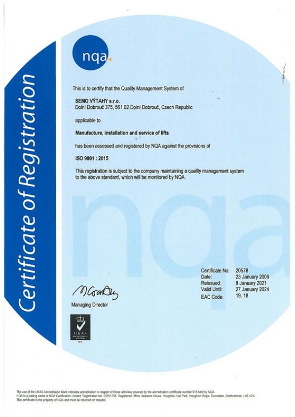 Certifikát ISO 9001 : 2015 ANG verze